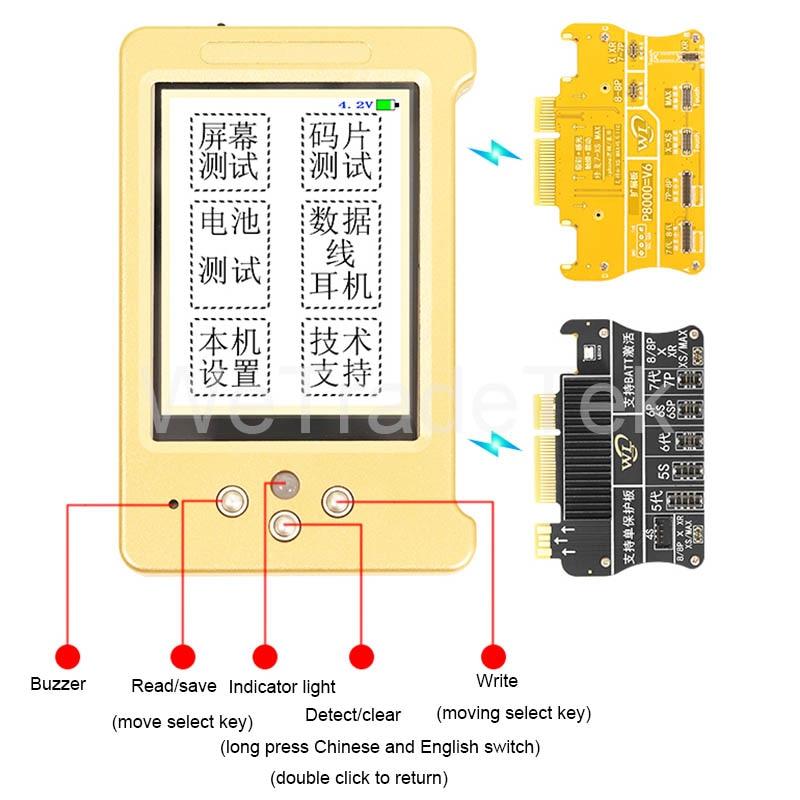 Pantalla LCD WL V11 herramienta de Color Original para iPhone 11 Pro 11 Promax XS XSMAX 8 vibración/táctil/Reparación de batería buena como Qianli iCopy