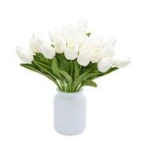 Bouquet de fleurs artificielles tulipes blanches  5 10 pieces  fausses fleurs de Calla en PU au toucher reel pour la maison  decoration de fete de mariage