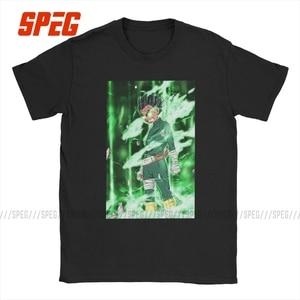 Мужская футболка с короткими рукавами Rock Lee Naturo, футболка из чистого хлопка с круглым вырезом и принтом в виде румян и манги