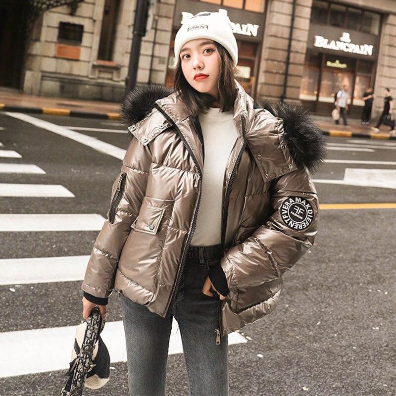Women's Jacket Winter Loose Short Warm Coats White Duck Down Parka Large Faux Fur Collar Glossy Outwear Female