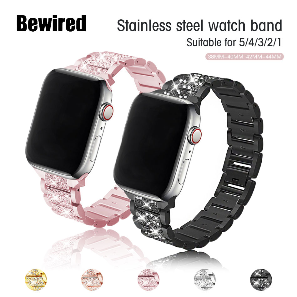 women strap for apple watch 6 band 38mm 42mm iwatch band serice 5 4 3 stainless steel strap for apple watch strap 44mm 40mm 2 1 Stainless Steel Strap for Apple Watch 5/4/3/2/1 38MM 42MM Watch Band 40MM 44MM Diamond Bracelet Band Strap for iWatch Series