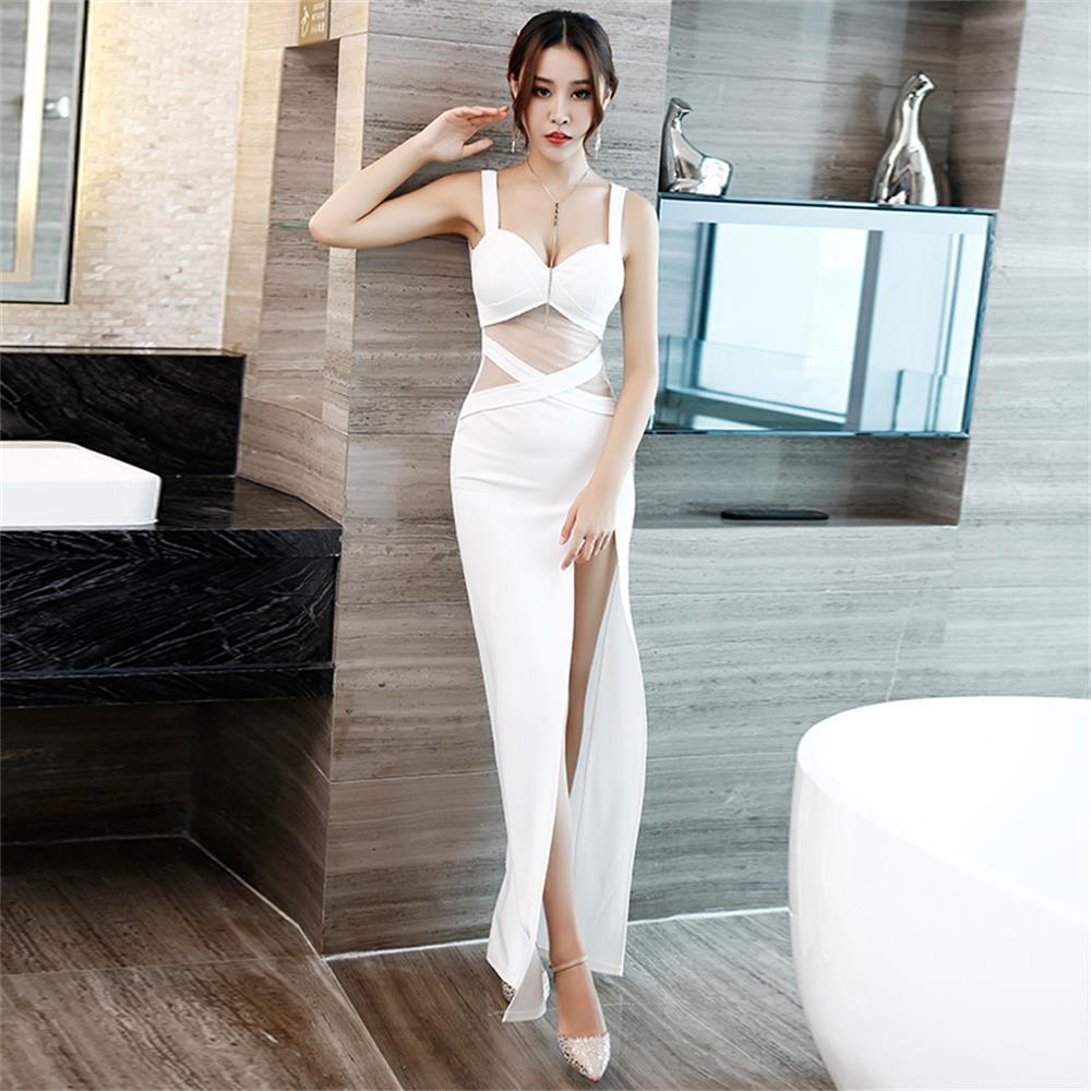 فستان سهرة مثير ، فستان سهرة ، فتحة عالية ، خط رقبة رسن ، شبكة ، بلا أكمام ، طويل ، فستان حفلات