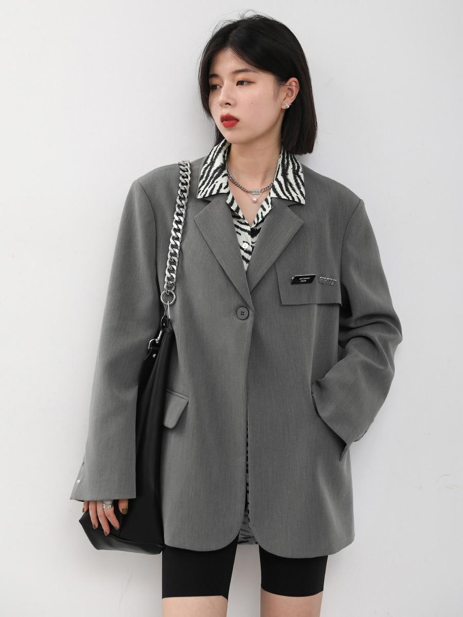 Early Autumn Fried Street Coat Leisure Wide Shoulder Suit Women's Badge High Sense Suit