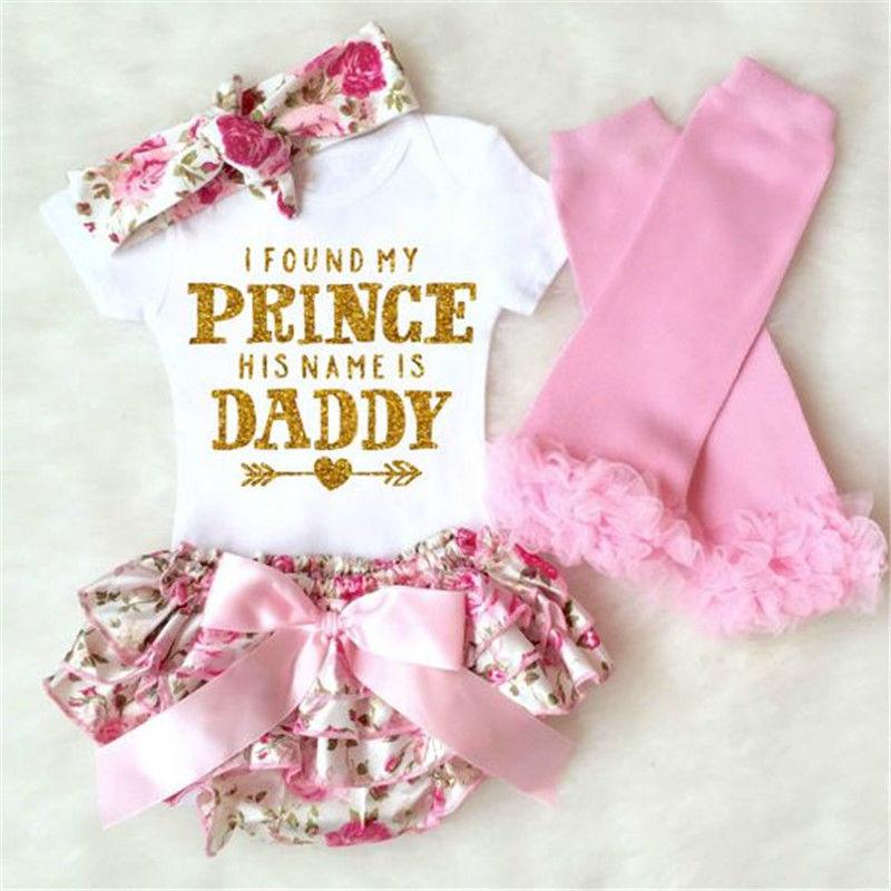 4PCS Newborn Kids Baby Girls Clothes Set Letter Printed Romper+ Floral Shorts Dress+Leg Warmer+ Headband Outfits