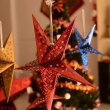 Navidad estrella de cinco puntas ornamento de hierro forjado parte superior del árbol de Navidad estrella sequinsfi-ppointed Star suministros de diseño de Navidad