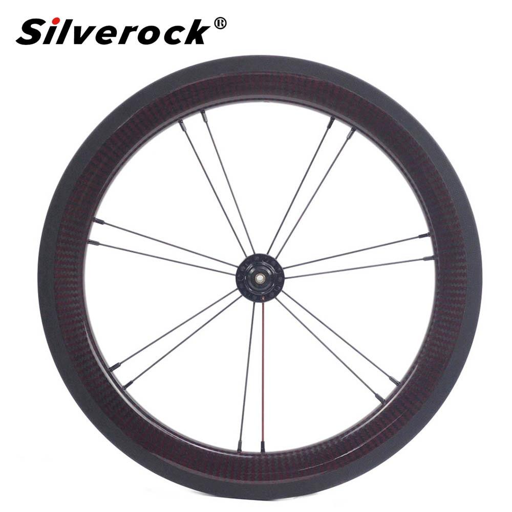 "Bike Carbon Front&Rear Wheelset 1-3 Speed 16 x1 3/8"" 349 14-21 For Brompton 3sixty Folding Bike 880g"