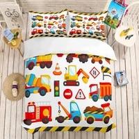 3d print bedding set construction vehicle kids cartoon toy car gift duvet cover set home textiles bed linen queen king size