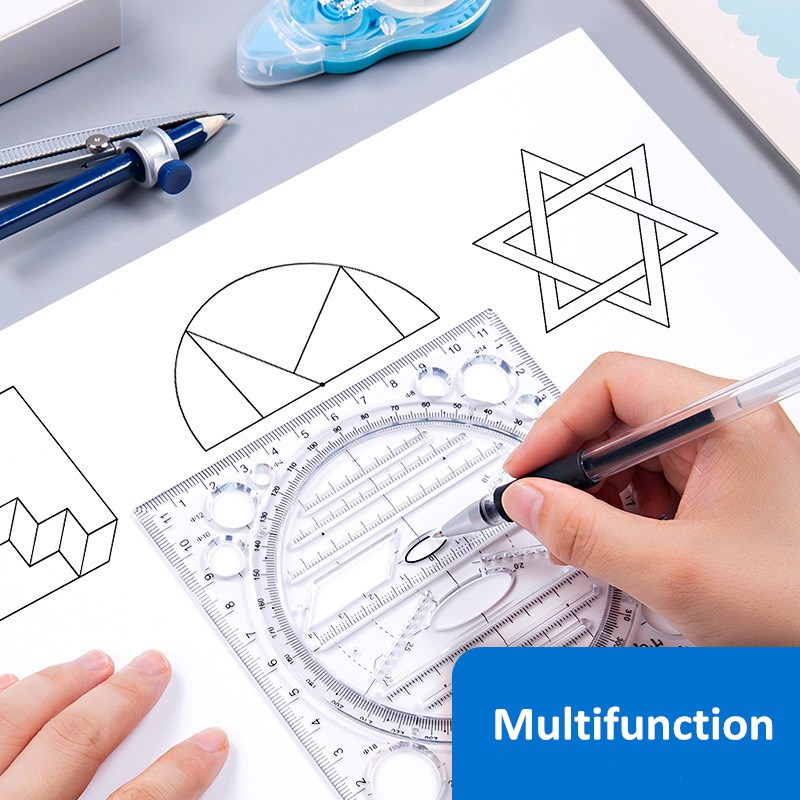 Creative Multifunctional Drawing Ruler Mathematical Geometry Template Student Scribe Handbook Design Drawing Ruler