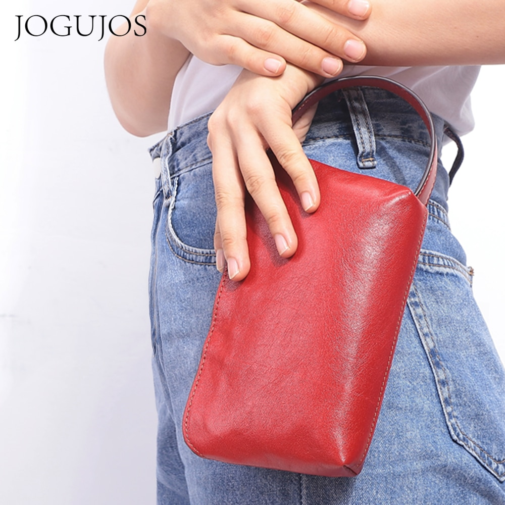 JOGUJOS Fashion Phone Purse Genuine Leather Clutch Women Long Wallets 2021 New Solid Cowhide Top-Han