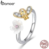 bamoer 100 925 sterling silver adjustable bee and honey flower sweet wish finger rings for women party silver jewelry bsr013