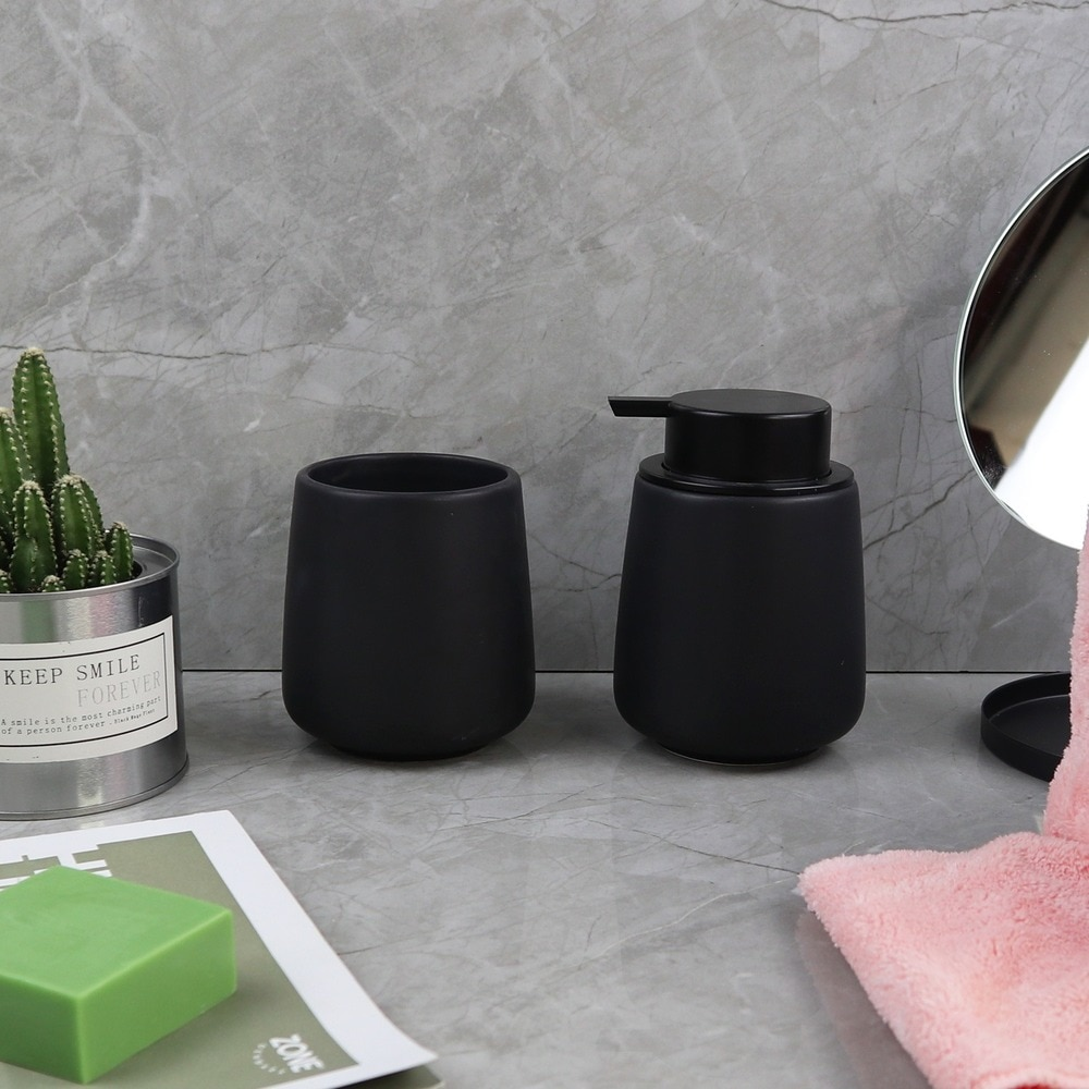 Kitchen Soap Dispenser Ceramic Bottle Hand Sanitizer Shampoo Bottle Toothbrush Cup Shower Gel Dispenser for Bathroom Accessories