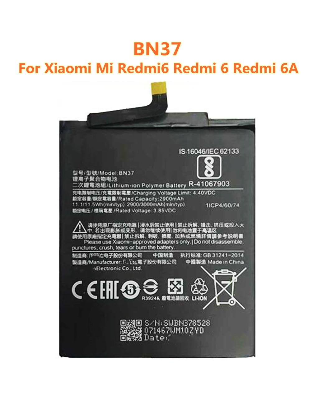 Аккумулятор BN37 100% мАч высшего качества для Xiaomi Mi Redmi6 Redmi 6 Redmi 6A Redrice 6 мобильный телефон