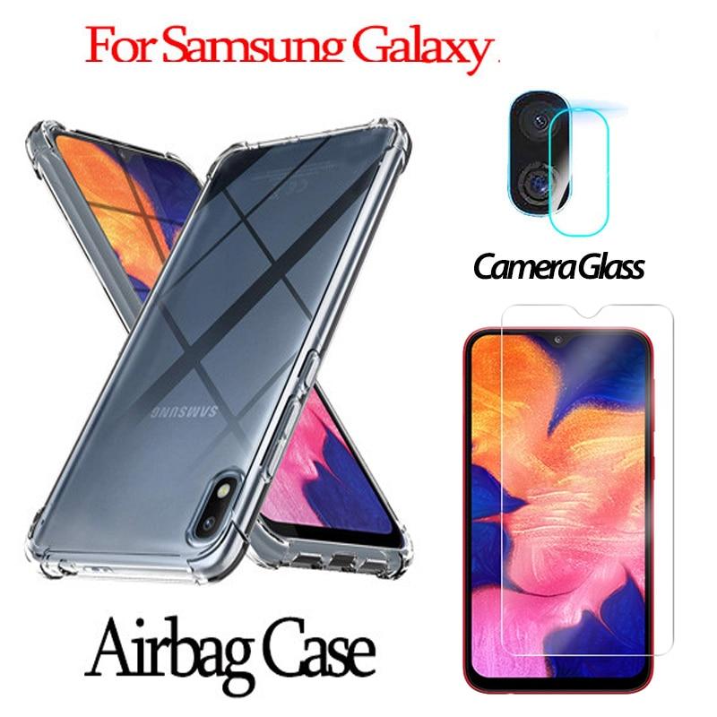 3in1 étui a51 a71 verre protecteur dobjectif dappareil-photo pour Samsung a10 a20 a30 s a01 a70 a80 a50 s10 s 10 lite étui Anti-chute Airbag