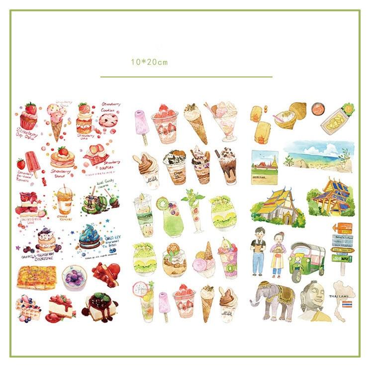 3pcs/lot Delicious Bangkok Food Journal Decorative Stickers set Scrapbooking Stick Label Diary Stationery Album Stickers