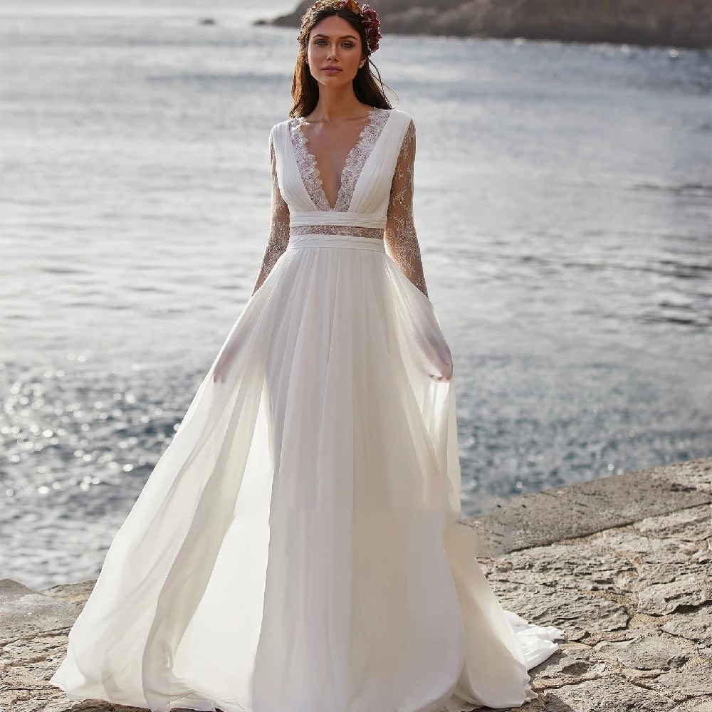 Get Simplicity Wedding Dresses In Chiffon Beach Full Length V-neck With Full Sleeve Gowns Button Plus Size A La Medida
