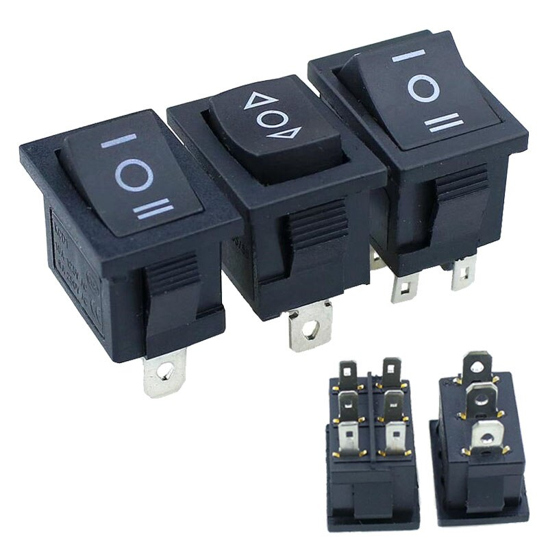 5 sztuk KCD1 Mini czarny 3 Pin / 6 pin On/Off/On przełącznik Rocker AC 6A/250V10A/125V