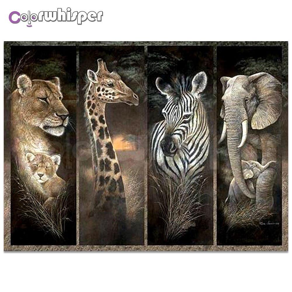 Pintura de Daimond 5D cuadrado completo/leopardo redondo jirafa cebra pintura de diamantes de imitación cristal punto de cruz mosaico 901