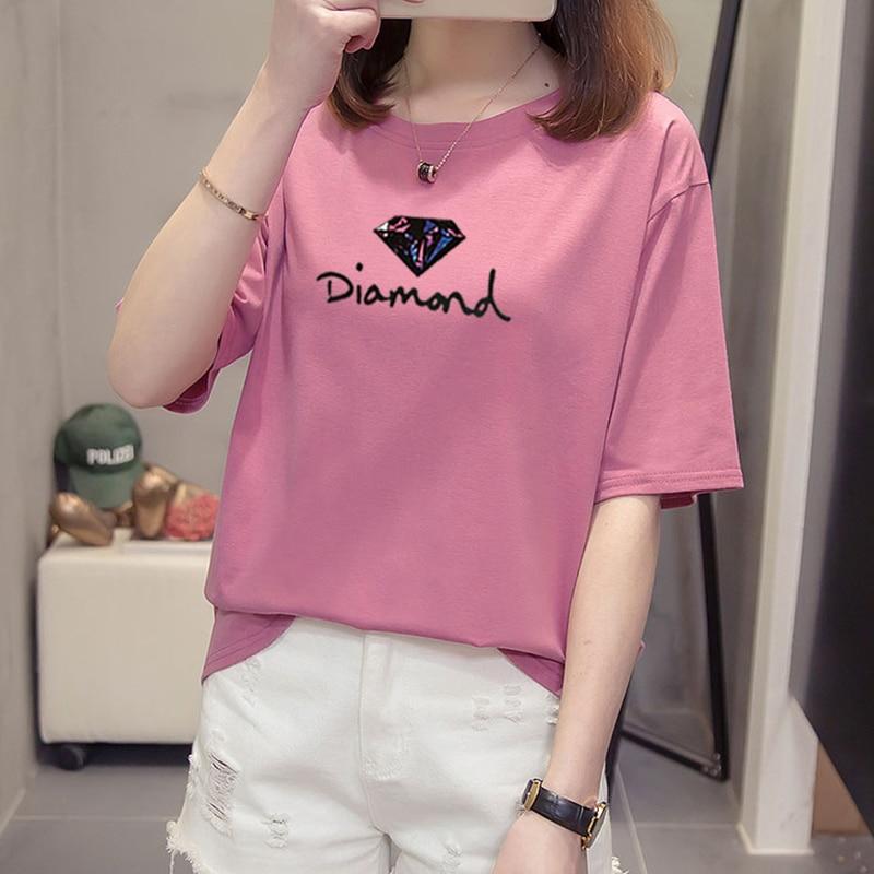 Summer Plus Size Tshirt Loose Tee Lady Relaxed Fit Tshirt Women's Leisure Cartoon Short-sleeved Tops Printing Milk Silk T-shirt
