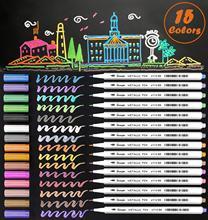 Marqueurs métalliques 15 couleurs doux pinceau pointe Art marqueurs brillant paillettes peinture stylo carte faisant bricolage Photo Album ferraille réservation
