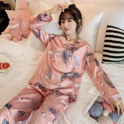 2020 primavera otoño mujer de manga larga Pijama de cuello en V conjunto Sexy seda satén pijamas señora Pijama mujer ropa de dormir ropa de casa camisón