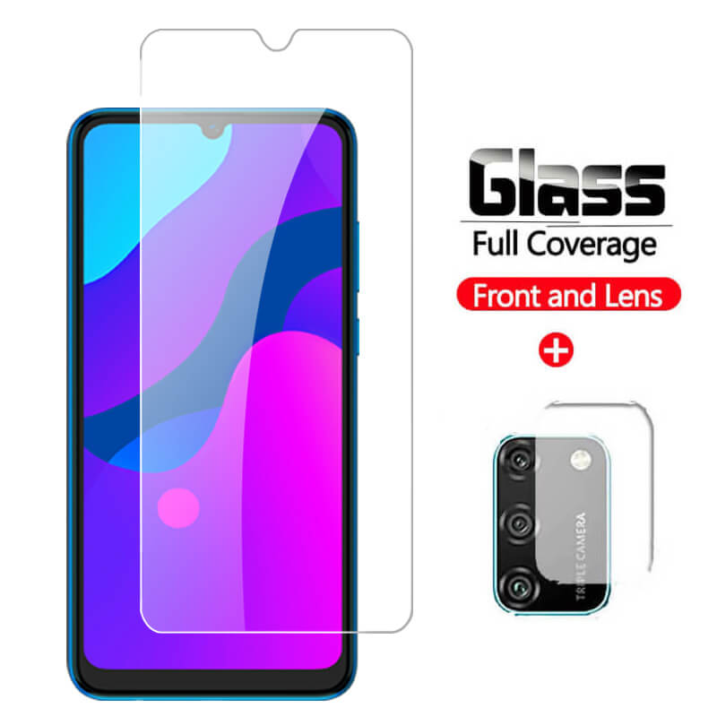 2 en 1 vidrio templado para Huawei Honor 9A vidrio Protector en Honer 9A A9 9 A MOA-LX9N Protector de pantalla de seguridad películas frontales transparentes