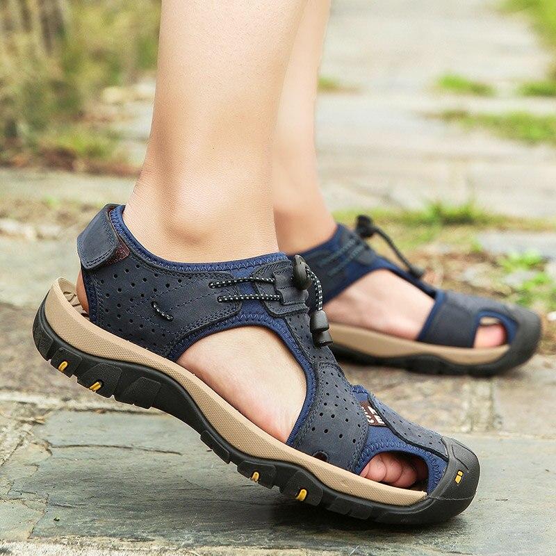 Los hombres transpirable cuero couro sandalias zapato de hombre piel homens masculina...