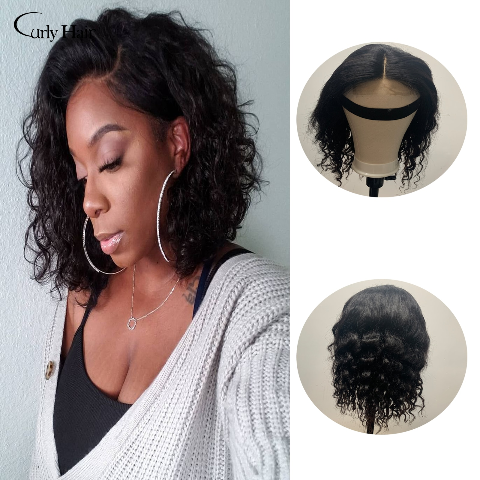 Curly Hair 4*4 Lace Wigs Loose Wave Double Drawn Remy 100% Human Hair Wigs For Women Malaysian 34inch Remy Lace Closure Wig