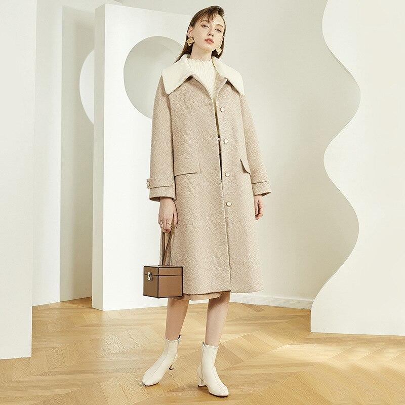معطف شتوي صوف متوسط الطول للنساء ، معطف شتوي عصري بخصر عريض ، صدر واحد بحزام من الصوف