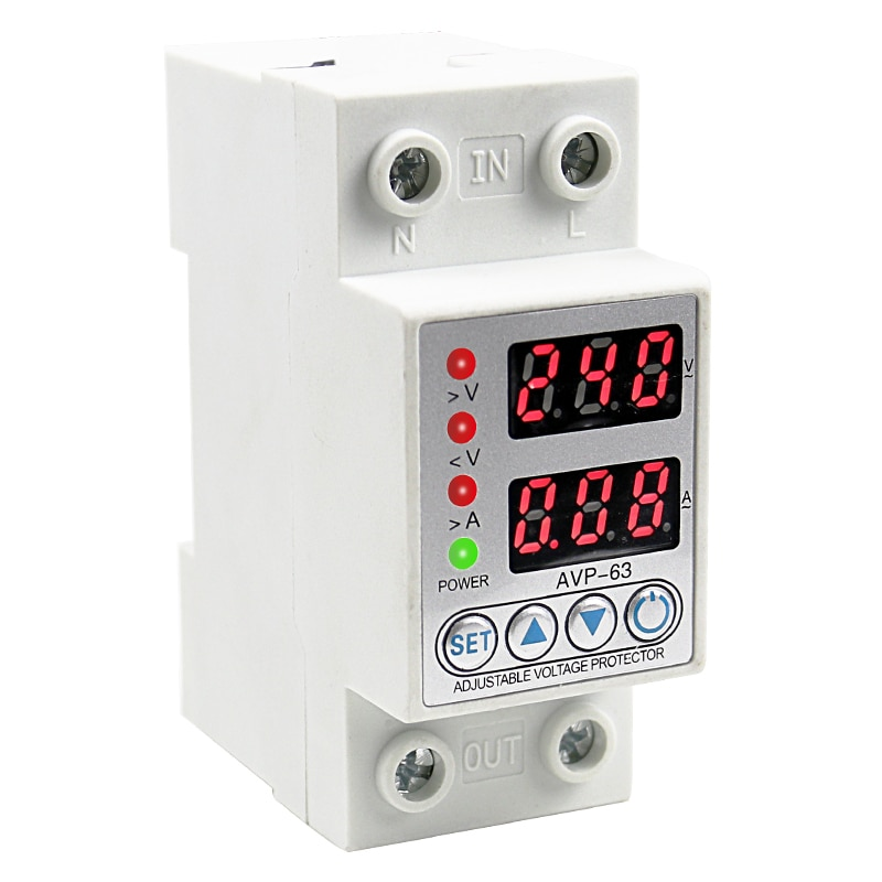 40A/63A Din Rail Dual Display Adjustable Intelligent Over Voltage Current And Under Voltage Protective Device Protector Relay