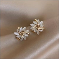 elegant and exquisite opal petal circle stud earrings for woman 2020 new classic jewelry luxury party girls unusual earrings