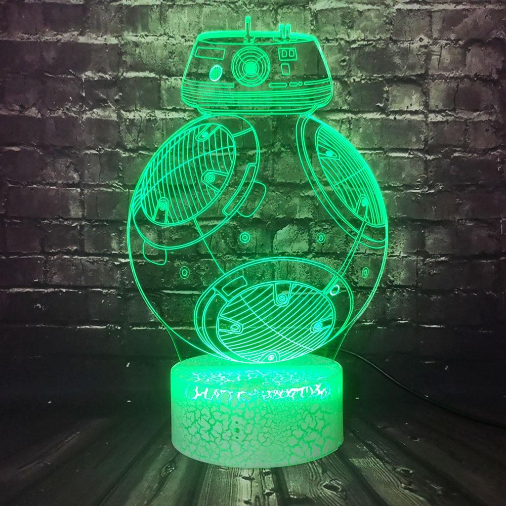 Fashion 3D Acrylic Star Wars Titanium machine BB8 Universe Toy LED Room Decor Safe of Baby Bulb Illusion Night Light Gift