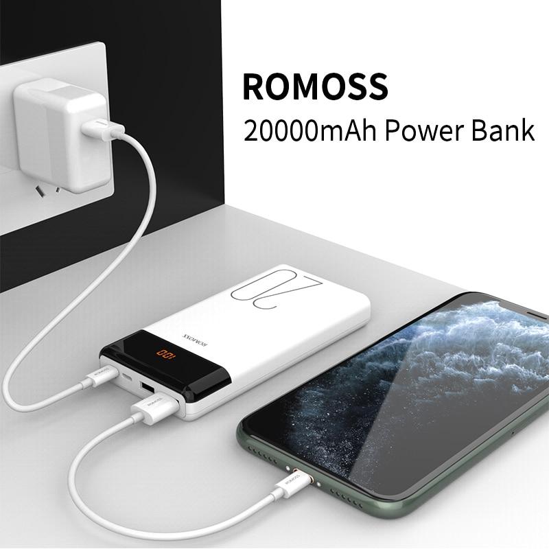 ROMOSS LT20 Power Bank 20000mAh Portable Charging Powerbank 20000 mAh External Battery Charger Poverbank for iPhone 12 Xiaomi Mi