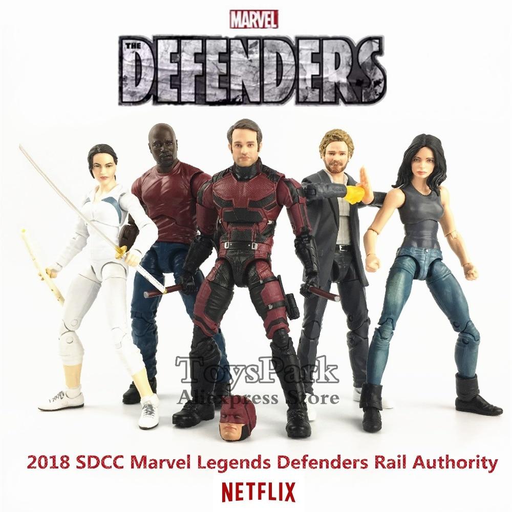 "Marvel Legends SDCC 2018 Defenders Rail Authority 6"" TV Action Figure Matt Murdock Jessica Luke Cage Iron Fist Colleen Wing Toys"