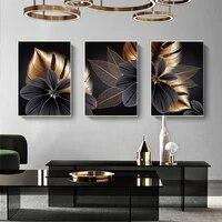Affiche en toile de feuille de plante doree noire imprimee  decor de maison moderne  peinture dart mural abstraite  decoration nordique de salon  image
