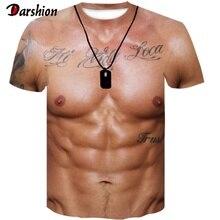 Für Mann 3D T-Shirt Bodybuilding Simulierte Muscle Tattoo T-shirt Lässige Nude Haut Brust Muscle T Hemd Lustige Kurze-Hülse oansatz