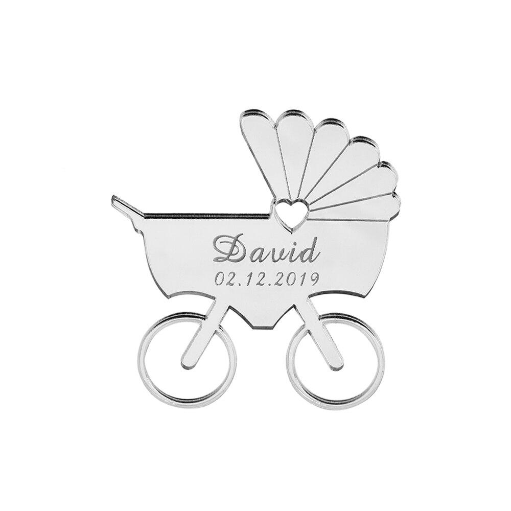 50 шт., персонализированное гравированное зеркало, детская коляска, акриловый подарок для новорожденных, декор для детского душа, именная ка...