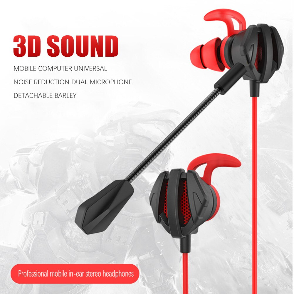 Wired Gaming Headset In-Ear Earphone Deep Bass Game Headset Computer Headphones With Noise-Reducing Dual Mic Plug For Xiaomi