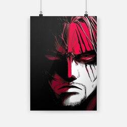 Vermelho-haired shanks uma peça anime lona cartaz pintura da parede arte decoração sala de estar quarto estudo decoração para casa impressões