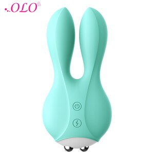 OLO Pink/Green Electric Shock Rabbit Vibrator Breast Clitoris Body Stimulator Massager Adult Sex Toys