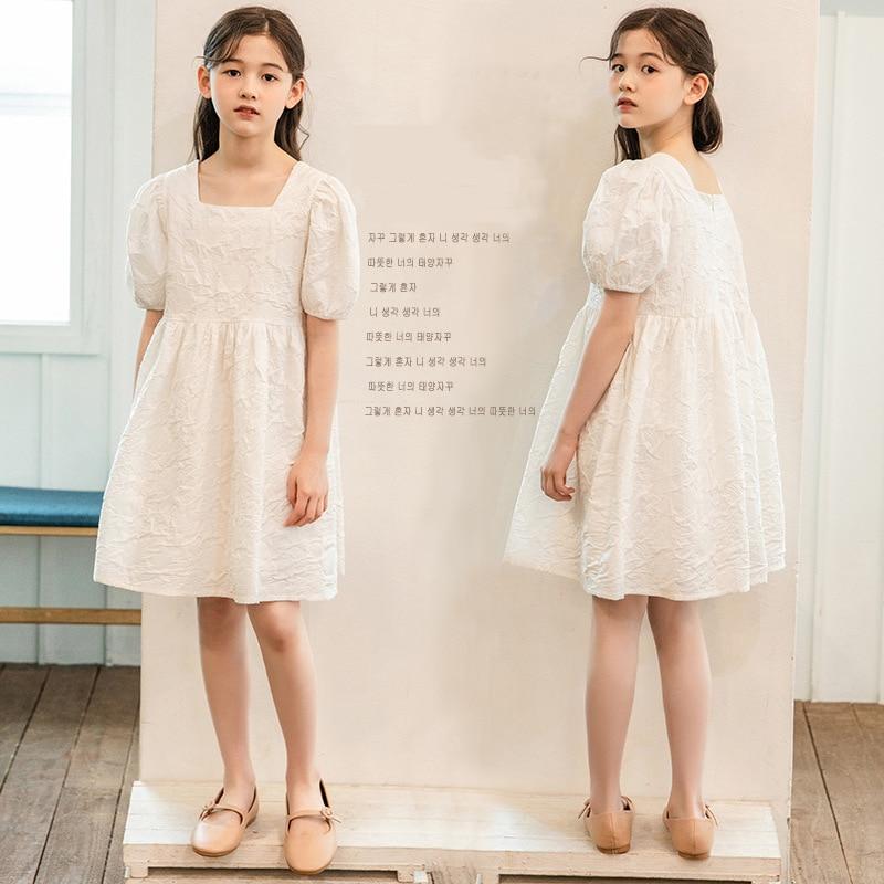 Princess Girls Dress Baby Summer Party Elegant Puff Sleeve White Birthday Wedding Dress Teen's Dress size 8 10 12 years
