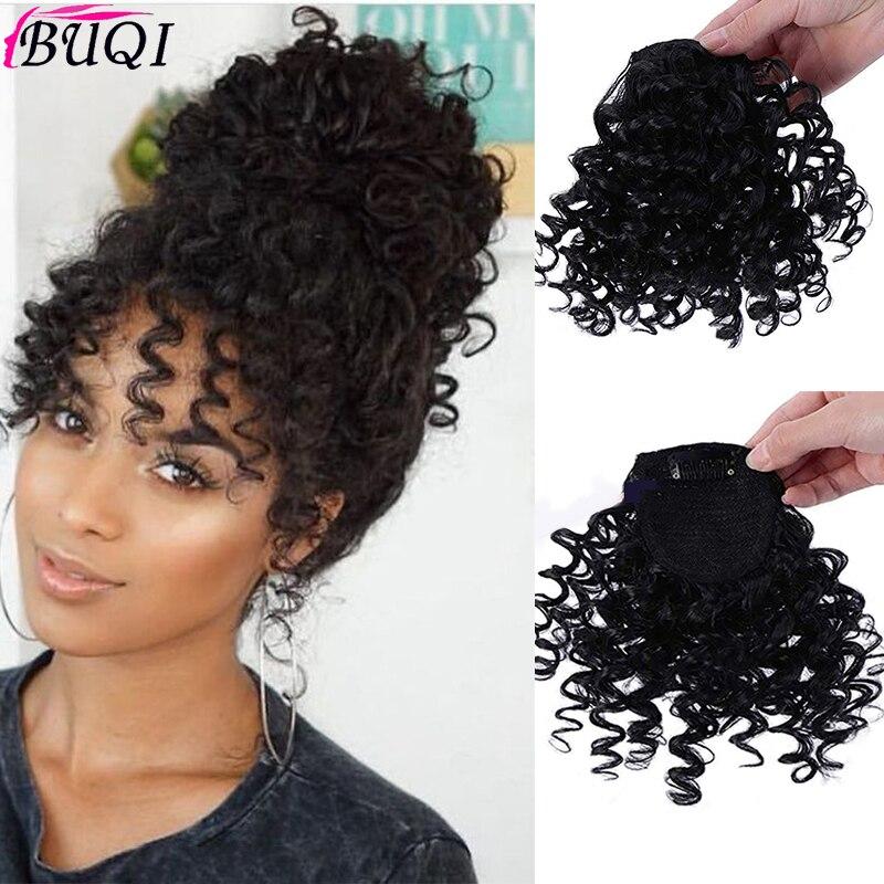Flequillo falso rizado Clip en peluca con flequillo postizas naturales flequillo pelo sintético piezas para las mujeres de moda BUQI