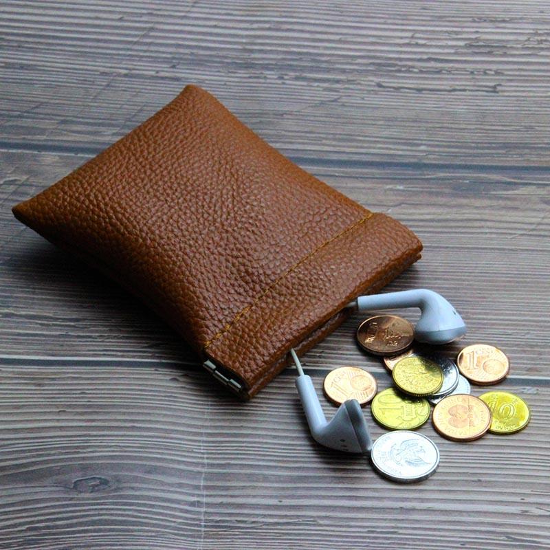 Black Coin Purse Small Earphones Wallet Bag Key Business Credit Card Holder Money Change Pouch Zipper Women Men Kids Girl