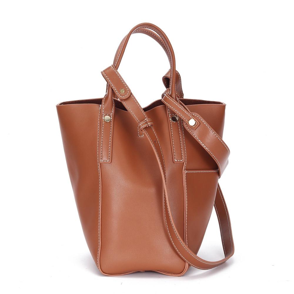 حقائب يد جلدية حقيقية 2021 تصميم جديد الأصلي بسيط جلد البقر واحد الكتف قطري دلو حقيبة