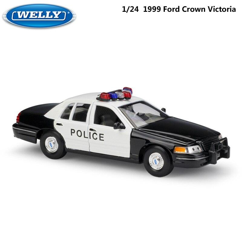 Modelo WELLY coche 124 juguetes de coche fundido clásico 1999 Ford Crown Victoria Taxi aleación de Metal coche de juguete para niños colección de regalos