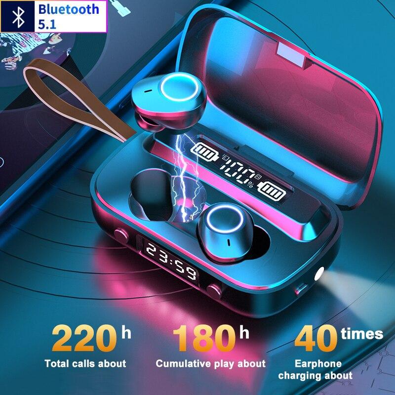 Auriculares TWS Auriculares inalámbricos con Bluetooth 5,1 con micrófono IPX7 Auriculares resistentes al agua Auriculares Bluetooth Gamer