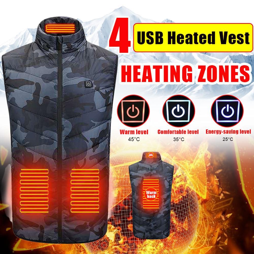 Männer und Frauen Camouflage 4-Zone Heizung Weste Usb Lade Heizung Jacke Drei-Geschwindigkeit Thermostat Beheizte Weste im freien wandern
