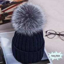 Meihuida Winter Women Pom Pom Beanies Warm Soft Knitted Bobble Girl Fur Pompom Hats Fashion Real Rac