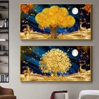 golden tree of life canvas painting nordic money tree poster and prints wall art pictures for living room home hotel decor