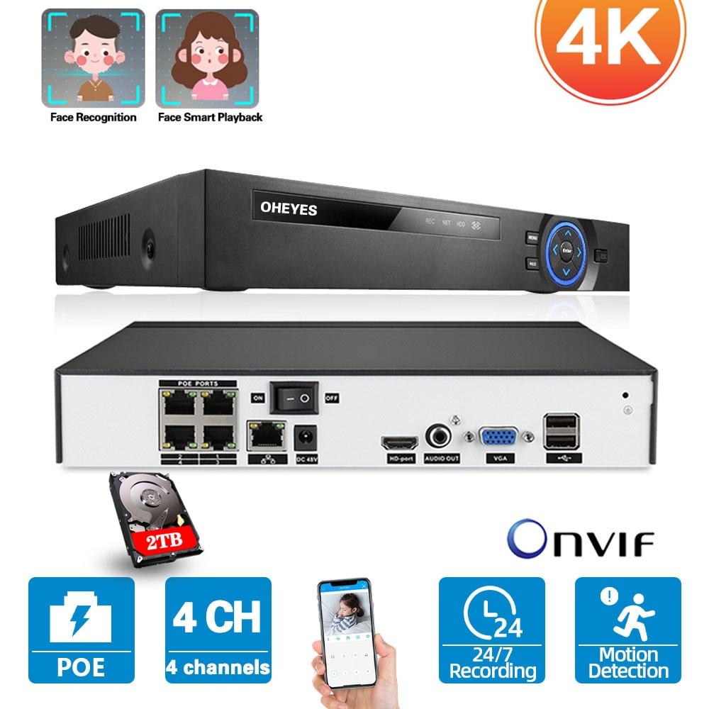 4CH 4K POE نظام NVR كشف الوجه NVR الأمن نظام الكاميرا 4 قناة CCTV IP شبكة مراقبة مسجل فيديو XMEYE 5MP