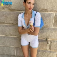 yiciya white knitted patchwork playsuit women 2021 summer streetwear short sleeve jumpsuit casual basic playsuit mujer asju20724